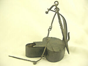 Antique Early 19th Century Forged Iron Betty Grease Lamp W Hook