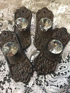 4 Crystal Style Glass Cabinet Drawer Pull Knobs Handle With Cast Iron Brown