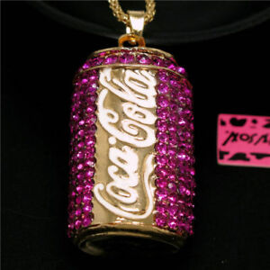 Reduced~Betsey Johnson Hot Pink Rhinestone Coca Cola Necklace & free gift