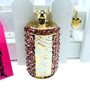 New~ Betsey Johnson Pink Coca Cola necklace & Free gift