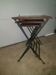 Nesting Tables Wrought Iron Solid Wood Vtg Set Of 3 Longaberger Style Usa