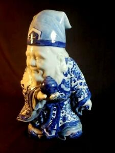 Vintage Japanese Large Hand Painted Blue White Figurine Of Immortal Signed