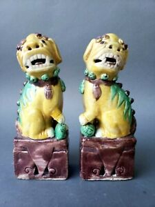 Pair Antique Chinese Glazed Porcelain Foo Dog Statues Figures 19th C