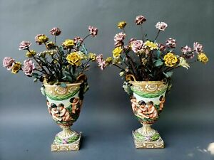 Pair Large French Hand Painted Porcelain Mantle Urns W Porcelain Flowers 19th C