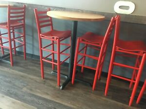 30 Round High top Restaurant cafe bar Table And Seat Stool chair Set
