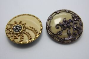 Lot Of 2 Antique Vtg Celluloid And Metal Floral Buttons