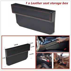1 X Leather Seat Storage Box Fits The Gap Between Seat Console Of Most Cars