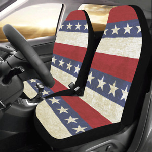 New Arrival Vintage Background With Stripes And Stars Car Seat Covers Set Of 2