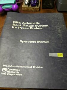 Drc Automatic Back Gauge System For Press Brakes Operators Manual