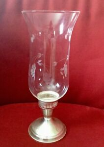 Sterling Silver Candlestick Holder With Hurricane Glass Duchin Creation