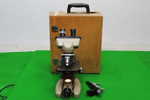 Vickers Instruments Binocular Microscope M14 2 Patent No 877813 In Wooden Case
