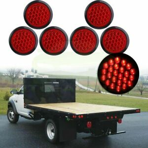 Set Of 6 4 Inch Round 24 Led Tail Light Reverse Backup For Truck Trailer