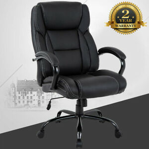 Black Big tall Pu Leather Computer Chair Executive Office Chair W lumbar Support