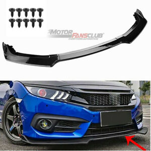 Carbon Style Front Bumper Lip Spoiler Cover Trim For Honda Civic 2016 2017 2018