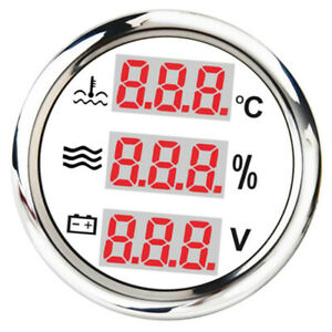52mm White 40 120 Round Panel Digital Water Temp Level Gauge For Yacht