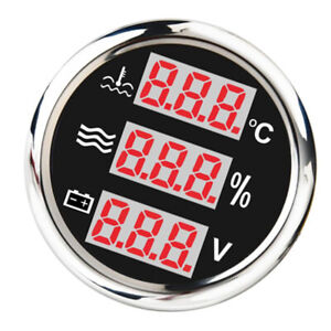 52mm Black 40 120 Round Panel Digital Water Temp Level Gauge For Yacht