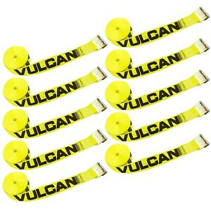 Vulcan Winch Strap With Flat Hook 3 Inch X 30 Foot 10 Pack Classic Yello
