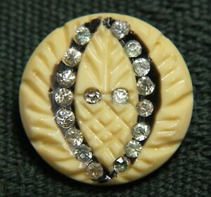 Vintage Antique Carved Celluloid Ivoroid Button Crystal Ome