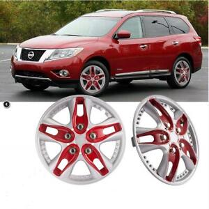 13inch 4 Pcs Car Wheel Trims Covers Type Hub Caps Protector Red Silver Us Stock
