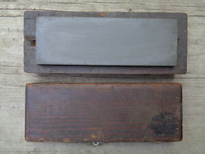 Antique Primitive Farm Used Barn Find Knife Sharpening Stone In Wood Holder Box
