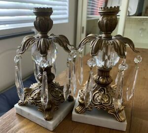 Antique Bronze Brass Candlesticks 2 Marble Base Crystal Teardrop 14 Prisms