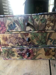 Antique Sewing Box Vintage Floral Fabric