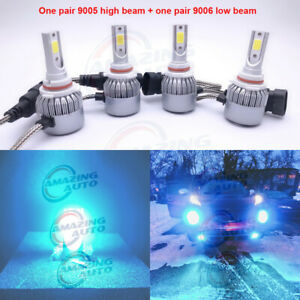 9005 9006 Combo Led Headlights High low Beam 8000k Ice Blue 55w 8000lm Set Pairs