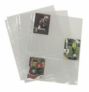 9 pocket Trading Card Binder Sleeves For 3 Ring Binders plastic Top Page 25 Pack