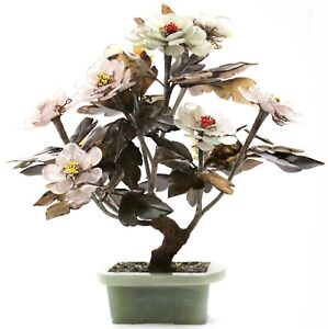 Vintage Chinese Jade Tree Agate Quartz Stone Flowers Bonsai Nephrite China Old
