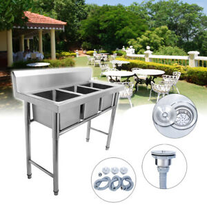 Commercial Austenitic 304 Stainless Steel Sink Kitchen 3 Compartment Triple Bowl