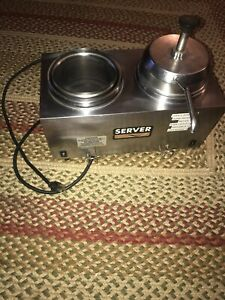 Server 81230 Twin Fsp Topping Warmer W Pump And Canisters Queso Nachos Cheese