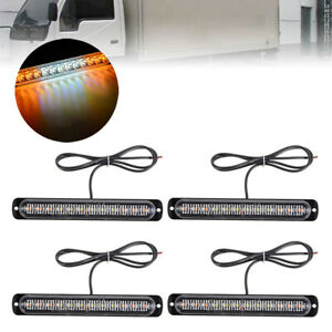 4x 12led Amber White Strobe Light Lamp Truck Hazard Beacon Flash Warn Emergency
