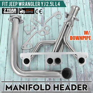 Fits Jeep Wrangler Yj 1991 1995 2 5l L4 Stainless Manifold Header W Downpipe