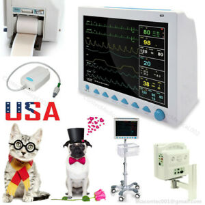 Veterinary Vital Signs Monitor Patient Monitor 7 Parameters Etco2 printer stand