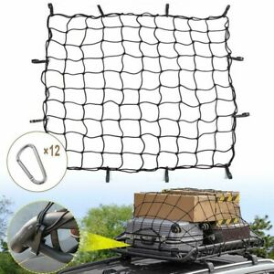 4 X 6 Mesh Cargo Net 12pcs Aluminum Carabiners For Jeep Ford Suv Truck
