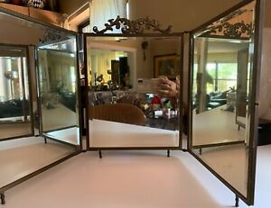 Antique Victorian Triple Vanity Or Wall Folding Mirror