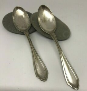 Set Of 2 Antique Teaspoons By 1835 R Wallace In 1917 Pattern Hudson
