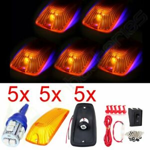 5 Amber Covers Cab Marker Light Lamp 12v 10smd Led Wiring Switch Car Truck