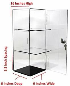 Clear Acrylic Counter Display Case Locking Cabinet 2 Shelves With Black Base