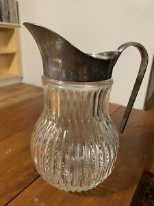 Vintage Ribbed Glass Juice Tea Pitcher Ice Water Lip Silver Plated Spout Italy