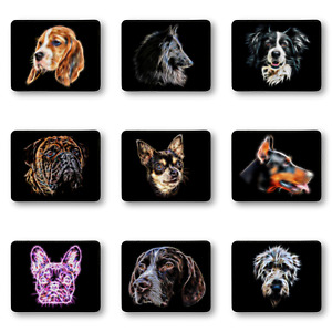 Pu Leather Mouse Pad With Stunning Dog Fractal Art Design Over 90 Designs
