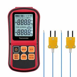 Kamtop Digital Thermometer Dual Channel Thermometer With Two K Type Thermocoupl