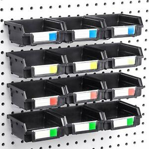 Pegboard Bins 12 Pack Black Hooks To Any Peg Board Organize Hardware Acce