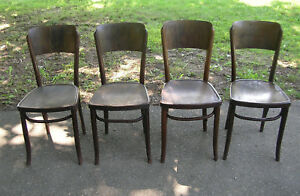 4 Antique Astra Bentwood Cafe Bistro Parlor Chairs Czechoslovakia
