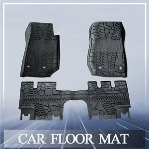 For 07 18 Jeep Wrangler Unlimited 4 Door Car Rubber Slush Floor Mats Front Rear