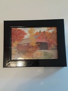 9x7Coca-Cola Advertising Print  Covered Bridge With Trees in Autumn Framed