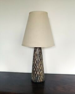 Vintage Ceramic Table Lamp Hand Glazed Mid Century Modern