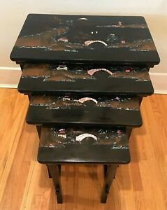 Set Of 4 Vintage Chinese Nesting Tables W Pearl Abalone Shells Inlaid