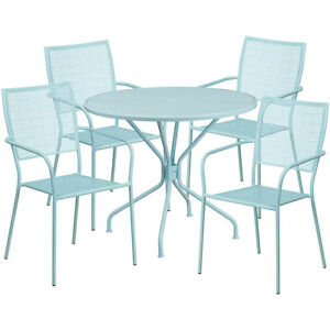 35 25 Round Sky Blue Indoor outdoor Patio Restaurant Table Set W 4 Chairs