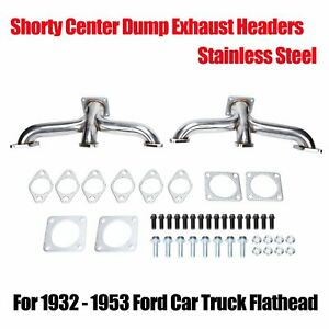 For 1932 1953 Stainless Ford Flathead V8 Car Pickup Truck Shorty Exhaust Headers